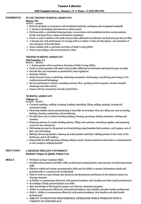 And Abilities For Nursing Resume by Nursing Assistant Objective Exles Writing A Winning