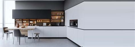 cuisine moderne blanc et bois decoration cuisine mélangez le noir le blanc et le bois