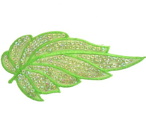 Leaf Applique by I211 Iron On Lime Silver Sequin Applique Flower Leaf X1 Ebay