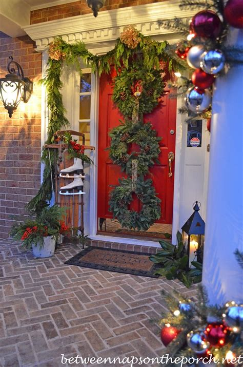 front porch decorated  christmas   wreaths