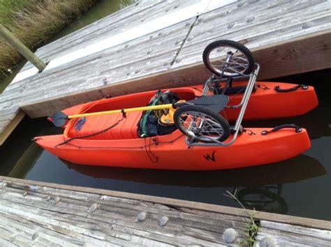 Skiff Kayak Launch by Fishing Kayak With Wheelcart Ready To Launch Wavewalk
