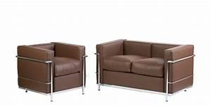 Fauteuil Deux Places : fauteuil et canap deux places lc2 marron stock ~ Teatrodelosmanantiales.com Idées de Décoration