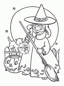 Cute Little Witch coloring pages for kids, halloween ...