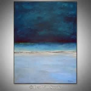 abstract blue painting original artwork large blue abstract painting modern decor horizon