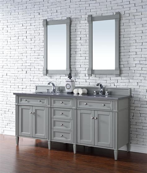 """James Martin Brittany Collection 72"""" Double Vanity Urban Gray"""
