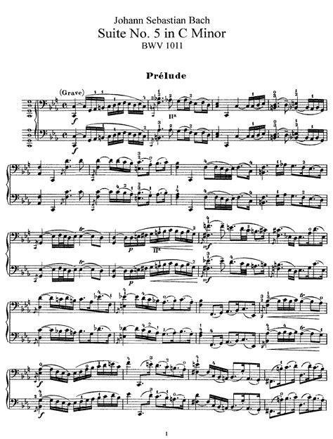 Cello Suite No5 In C Minor Bwv 1011 Bach Johann