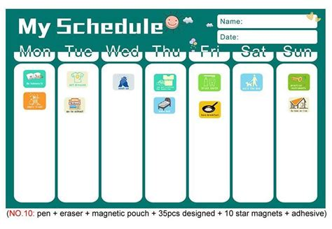 magnetic chores chart dry erase board wall sticker kids weekly planner   list reward chart