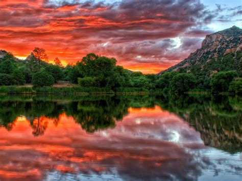 red clouds sky reflection sunset  granite basin lake