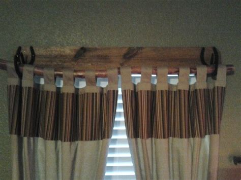 Easy Rustic Curtain Rod. 1x6 Piece Of Wood, Horseshoes And Tree Limb. Red Stage Curtain How To Make A Room Divider Navy And White Geometric Curtains Bamboo Pattern Patterns For Living Bay Rail Custom Cafe Leopard Print Sheer