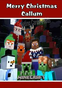 Birthday Ivitations Personalised Minecraft Christmas Card Design 2