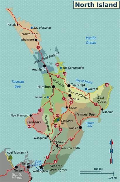 Island North Regions Zealand Map Nz Maps