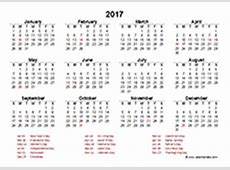 2017 Excel Calendar Template Download FREE Printable