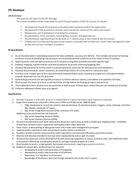Sharepoint 2013 Developer Resume Sle by Pharmmd Etl Developer Description