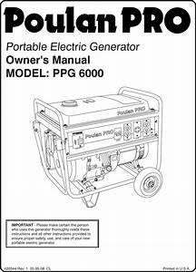 Poulan Ppg 6000 Users Manual Om  Ppg6000  2008 05  Generators