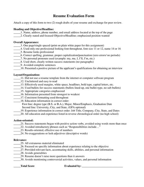 Resume Evaluation by Free 14 Resume Evaluation Form Sles In Pdf Word