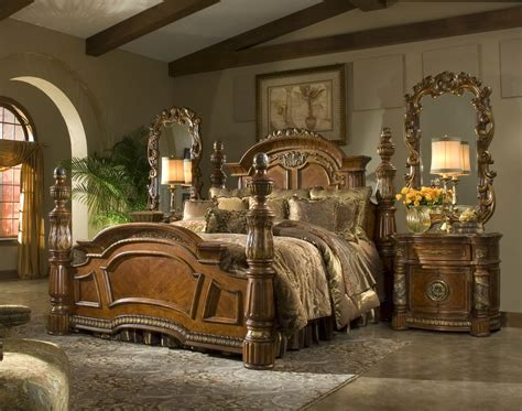 villa valencia bedroom set 4 poster king bedroom set