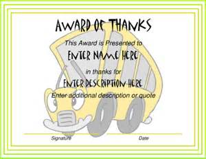 Awards Certificates Templates for School Bus Driver