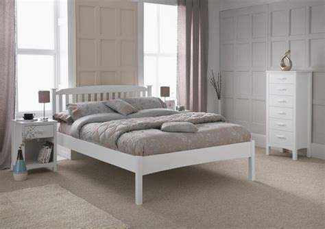 White Low Bed Frame by Serene Eleanor 4ft Small White Wooden Bed Frame