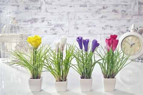 Home Interior Flower Pictures : Artificial Crocus Flowers Plants In Pot Home Decor Garden