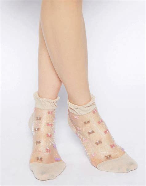 Floral Sheer Socks asos asos sheer floral ankle socks at asos