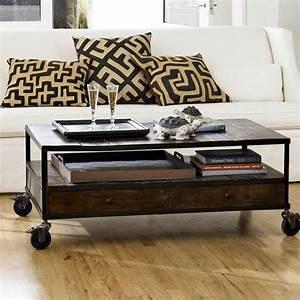 Coffee table inovative rustic coffee table with wheels for White coffee table with wheels