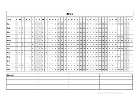blank landscape yearly calendar template