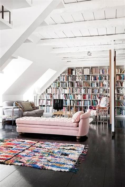 attic library design white attic library design