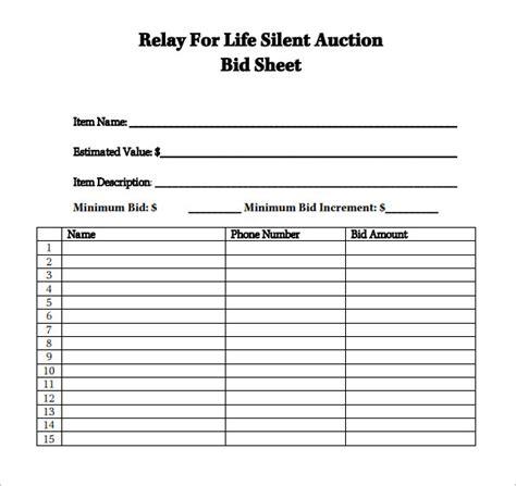 silent auction template 7 silent auction bid sheet sles sle templates
