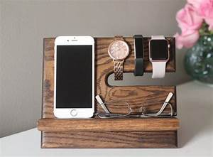 Oak Nightstand Valet Wooden Phone Stand Phone Charging