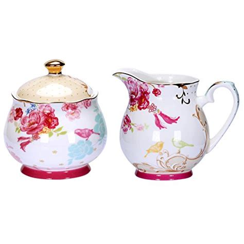 The most common coffee sugar creamer material is ceramic. AWHOME Painted Classic Porcelain Sugar and Creamer Set for Coffee and Tea (AB009)- MarshmallowChef