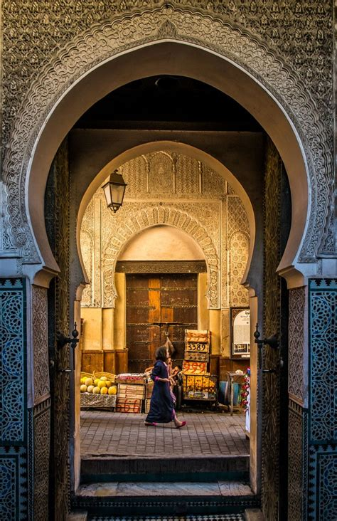 door   medina fez morocco travel   world