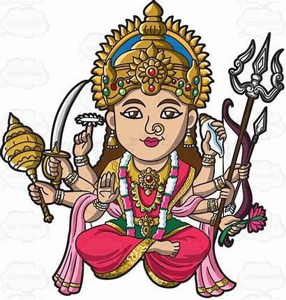 Hindu Goddess Clipart Durga Cartoon Maa Gods