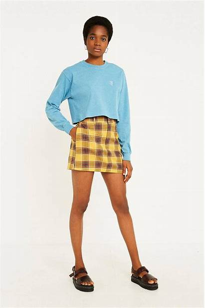 Skirt Mini Plaid Yellow Urban Outfitters Tailored