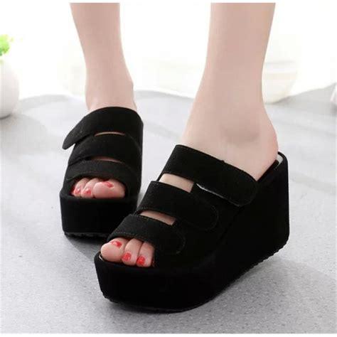 Wedges Hitam V cafana sandal wedges wanita casual hitam sdw65 wedges