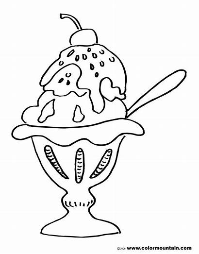 Ice Cream Coloring Sundae Pages Printable Drawing
