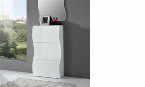 Petit Meuble A Chaussure : meuble chaussures blanc laqu design swell ~ Teatrodelosmanantiales.com Idées de Décoration