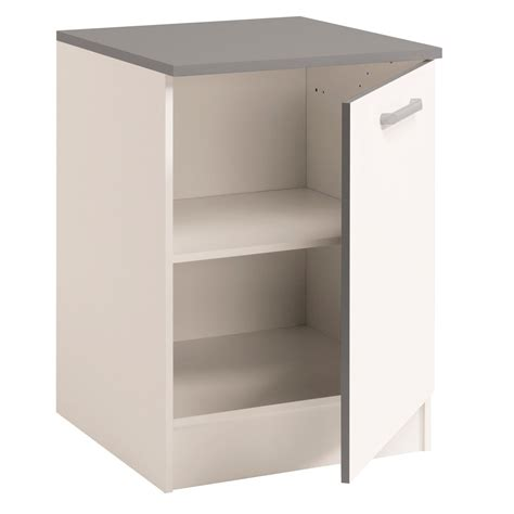 but meuble de cuisine bas meuble bas de cuisine contemporain 60 cm 1 porte blanc