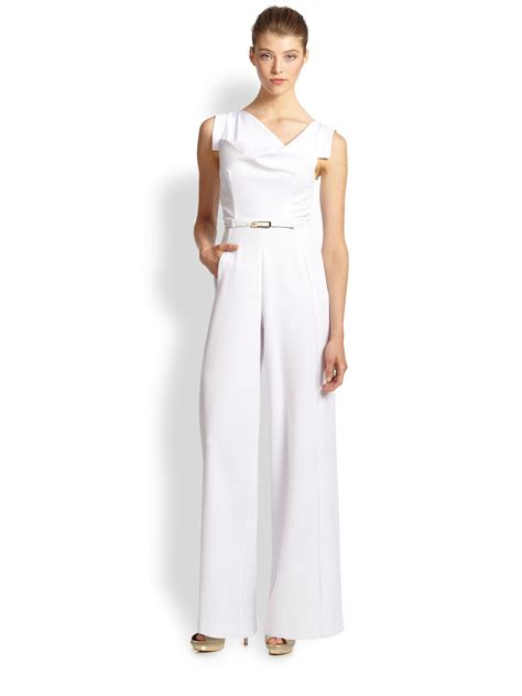 all white jumpsuit for black halo jackie jumpsuit in white lyst