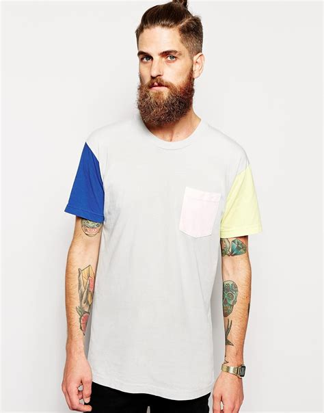 color block t shirt lyst american apparel washed color block t shirt in gray