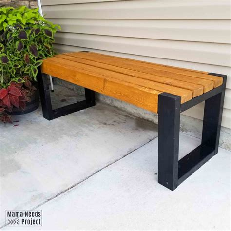 simple  bench plans build  easy modern bench mama