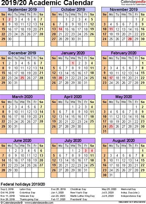 academic calendars printable excel templates