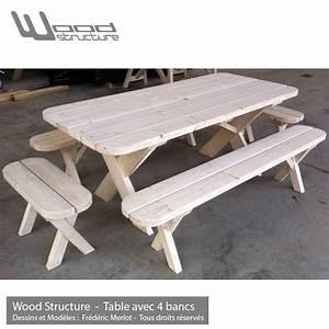 Table Et Banc En Bois : table pique nique banc table de jardin wood structure ~ Melissatoandfro.com Idées de Décoration