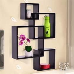 black intersecting 4 square floating shelf wall mounted
