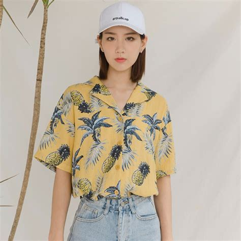 pineapple blouse yellow pineapple printed summer blouse 39 s fashion