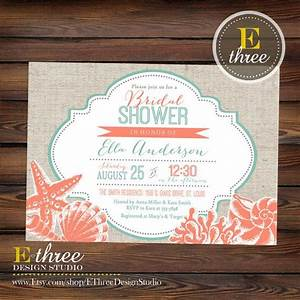 printable beach bridal shower invitation coral and teal With destination wedding shower ideas