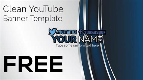 clean youtube banner template photoshop  gimp