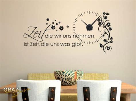 Wandtattoo Uhr Wanduhr Mit Uhrwerk Zitat Zeit Wohnzimmer