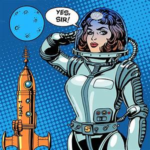 Woman astronaut captain ~ Illustrations on Creative Market