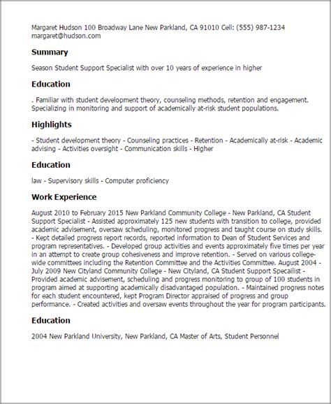 Education Services Specialist Resume by Professional Student Support Specialist Templates To Showcase Your Talent Myperfectresume