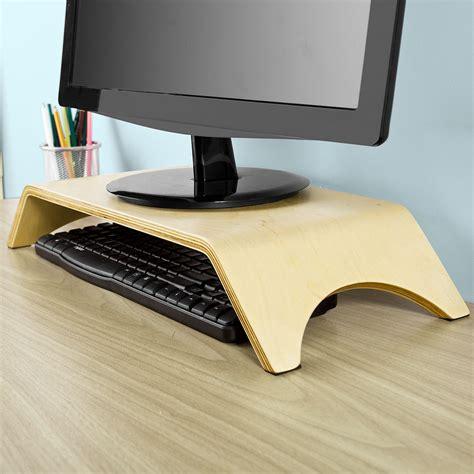 support ecran pc bureau sobuy support moniteur écran ergonomique pc tv lcd bois